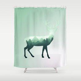 Deer Stag Elk Roe Fawn Moose Double Exposure Surreal Wildlife Animal Shower Curtain