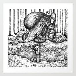 John Bauer Trollskog Art Print