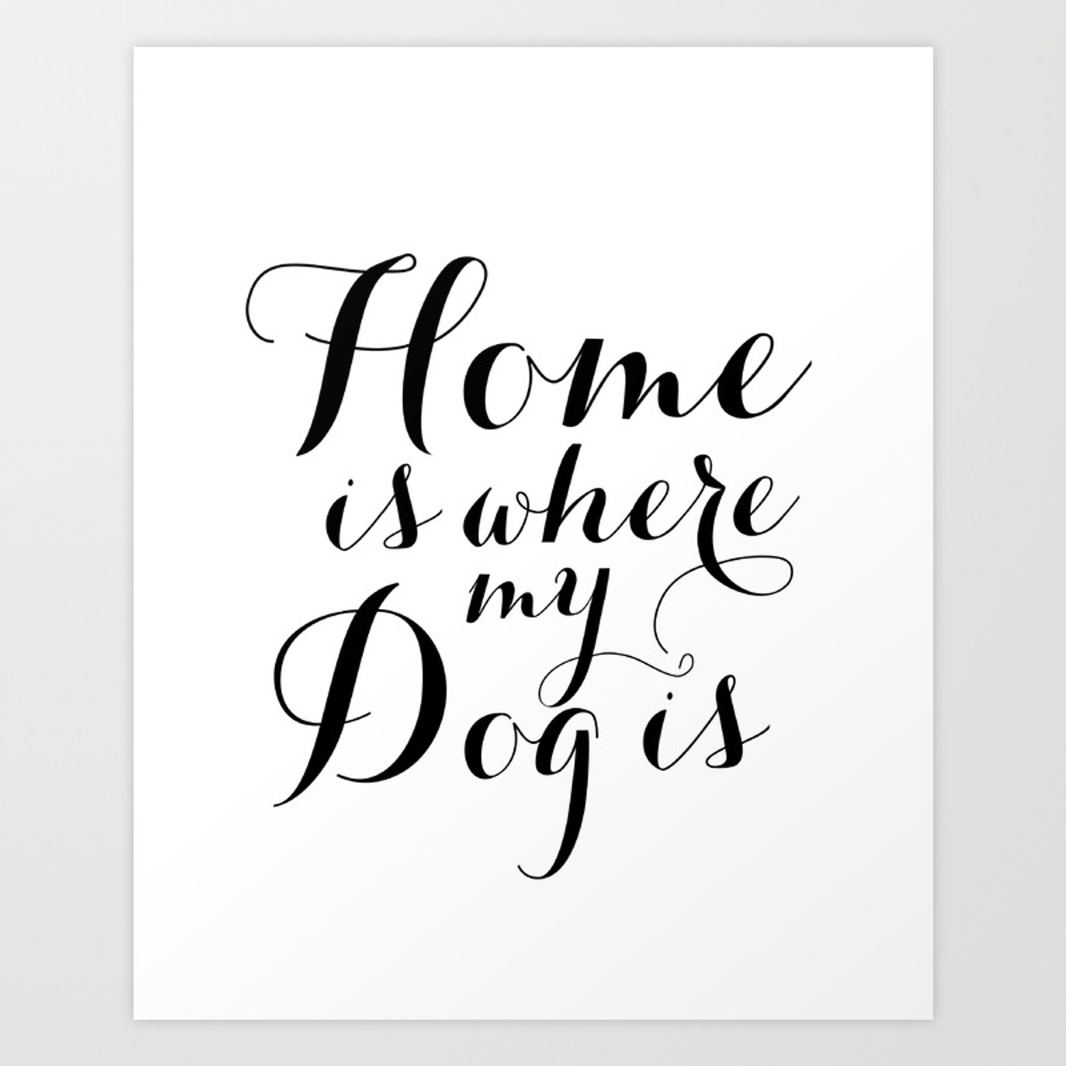 Decor Poster.Home interior design.Room wall print.Home is where my dog is.6850