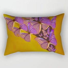 Shiny Purple Butterflies On A Ocher Color Background #decor #society6 Rectangular Pillow