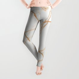 stylish minimalist trendy chic rose gold white marble Leggings