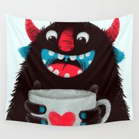 demon Wall Tapestries featuring Demon with a cup of coffee (contrast) by Lime
