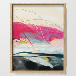 abstract landscape with pink sky over white cloud mountain Serving Tray
