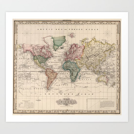 Vintage Map of The World (1833) by bravuramedia
