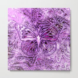 Butterfly on Orchid Magenta Metal Print