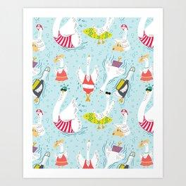 Seven Swans a Swimmin' Art Print