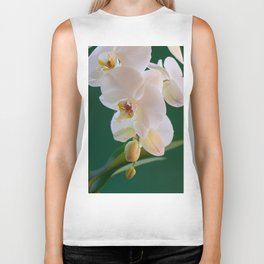 Blossoming White Orchid Flower on Green Background Biker Tank