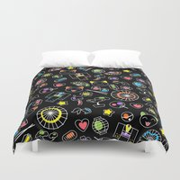 kawaii Duvet Covers featuring Kawaii Doodles by Natalia Linn