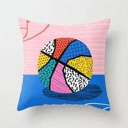 Dish - memphis art print, basketball art print, sports art print, 80s art prints, retro art Throw Pillow