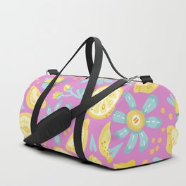 Lemon Pattern Pink Duffle Bag