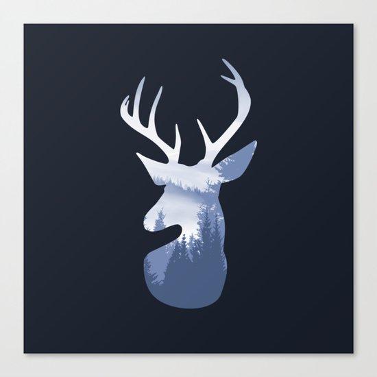 Deer Abstract Blue Landscape Design Canvas Print