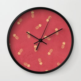 Golden pineapples on coral pink Wall Clock