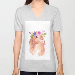 Floppy Ear Bunny Floral Watercolor Unisex V-Neck