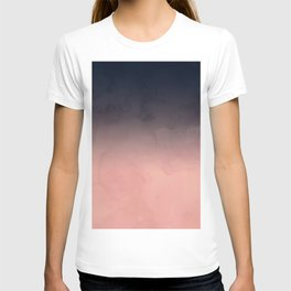 Modern abstract dark navy blue peach watercolor ombre gradient T-shirt