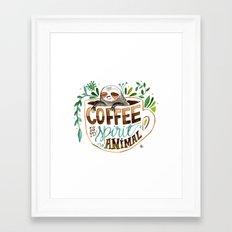Coffee is my spirit animal Framed Art Print