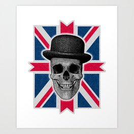 Skull with bowler hat and British flag Art Print