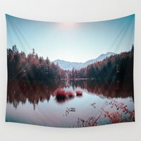 buddhism Wall Tapestries featuring Winter Lake by Schwebewesen • Romina Lutz