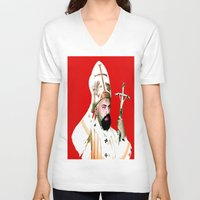 chad wys V-neck T-shirts featuring pope chad by Chad M. White
