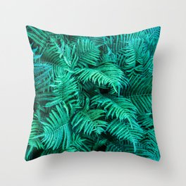 Fern Photography | Emerald | Turquoise |Tropical Leaves | Art Print Throw Pillow