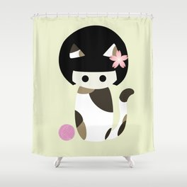 Calico Kokeshi Shower Curtain