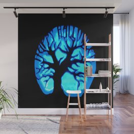 Happy HaLLoWeen Brain Tree Blue Wall Mural