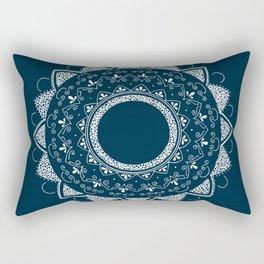 Precious white mandala on blue Rectangular Pillow