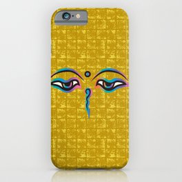 Eyes of God of India on Gold-leaf Screen iPhone Case
