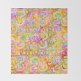Rainbow Pastel Abstract Typography Watercolor Painting Throw Blanket