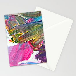 An Artist's Colorful Paint Palette with Rainbow Paint Smears  Stationery Cards
