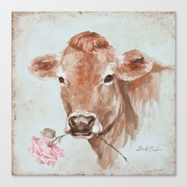 Cow with Rose by Debi Coules Canvas Print