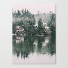 Snowy Cabins Canvas Print
