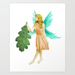 Oak Tree Fairy With Oak Leaf Art Print
