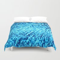 turquoise Duvet Covers featuring TURquoise Pixel Wind by 2sweet4words Designs