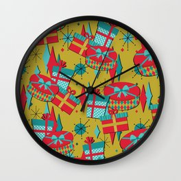 Retro Presents in Red Wall Clock