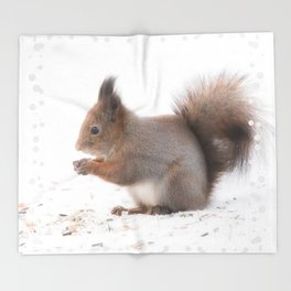 Squirrel And Lunch Pause Winter Scene #decor #society6 #buyart Throw Blanket