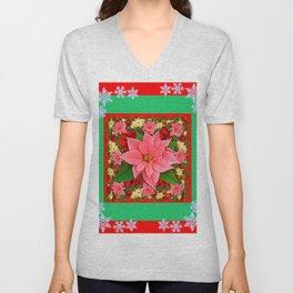 DECORATIVE SNOWFLAKES RED & PINK POINSETTIAS CHRISTMAS ART Unisex V-Neck