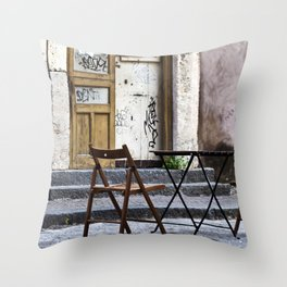 Table and Chairs - Catania - Sicily Throw Pillow