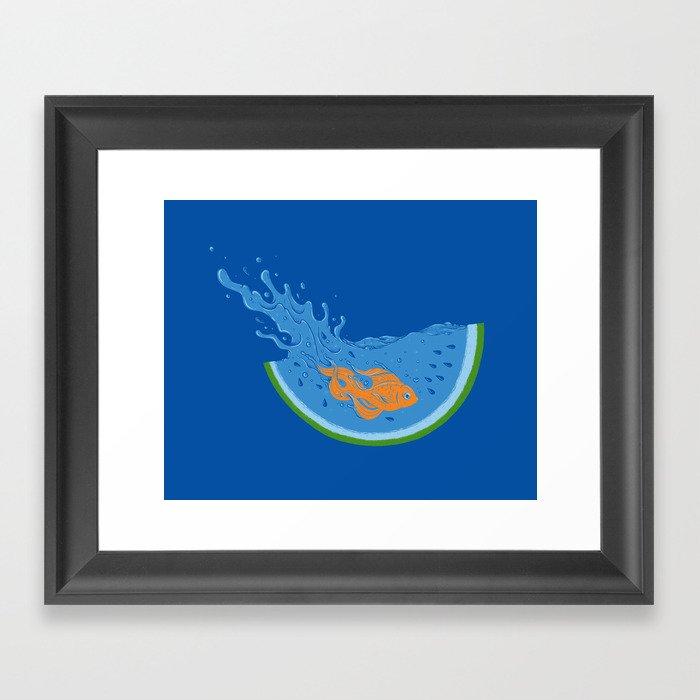 Watermelon Dive Framed Art Print