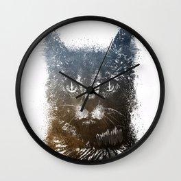 Gray cat Lucky Wall Clock