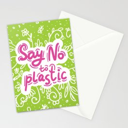 Say no to plastic.  Pollution problem, ecology banner poster. Stationery Cards