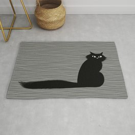 Side Eye Black Cat with Long FLuffy Tail Rug