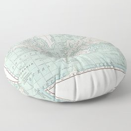World Map in Blue and Cream Floor Pillow