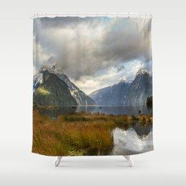 Mitre Peak, Milford Sound, New Zealand Shower Curtain