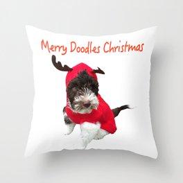 Merry Doodles Christmas Labradoodle Throw Pillow