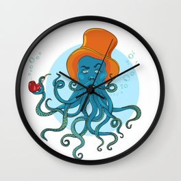 a man in a hat smoking pipe, a beard of  octopus tentacles Wall Clock