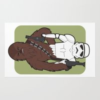 chewbacca Area & Throw Rugs featuring Chewbacca and Stormtrooper by Diego Piovesan