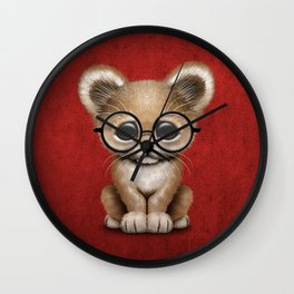 Cute Baby Lion Cub Wearing Glasses on Red Wall Clock