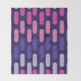 Colourful lines on navy background Throw Blanket