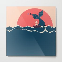 Whale and boat minimalist Metal Print