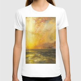 Golden Sunset and Sky over a Troubled Sea landscape painting by Thomas Moran T-shirt